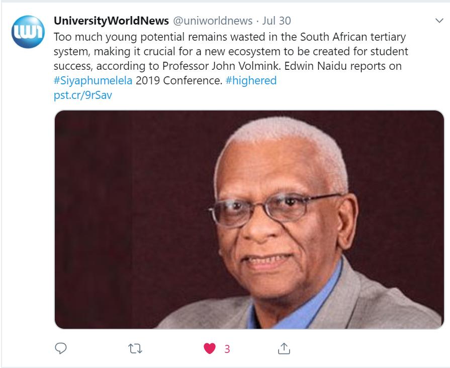 Prof Volmink Tweet